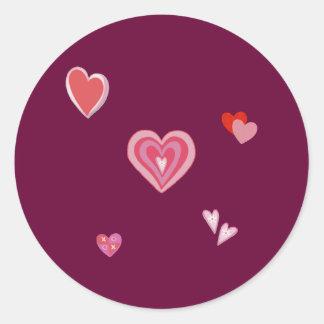 Valentine Love Hearts Classic Round Sticker