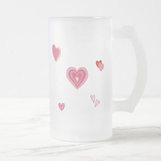 Valentine Love Hearts Frosted Glass Beer Mug
