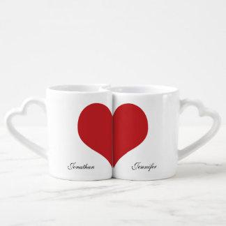 Valentine Love Hearts Mr and Mrs Coffee Mug Set