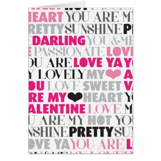 Valentine love message card