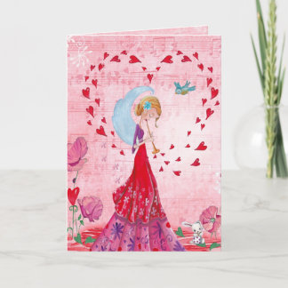 Valentine Love Music Gir   Greeting Card