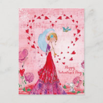 Valentine Love Music Girl | Postcard