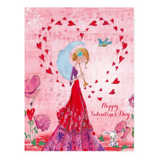 Valentine Love Music Girl | Postcard