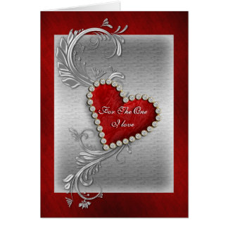 Valentine love red heart romantic card