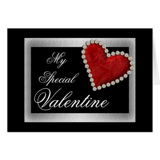 Valentine love red heart romantic card