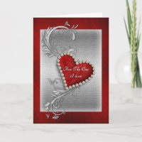 Valentine love red heart romantic holiday card