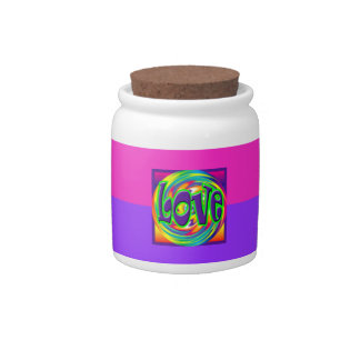 Valentine Love Retro Rainbow Pink/Purple 60's Fun Candy Jar