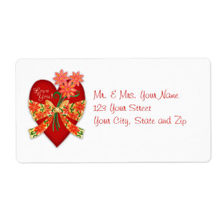 """Valentine """"Love you"""" Heart with Bow Shipping Label"""