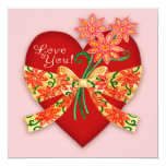 """Valentine """"Love you"""" Heart with Bow Party Invite"""
