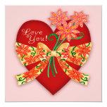 "Valentine ""Love you"" Heart with Bow Party Invite 5.25"" Square Invitation Card"