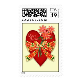 """Valentine """"Love you"""" Heart with Bow Postage Stamp"""