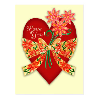 """Valentine """"Love you"""" Heart with Bow Postcard"""