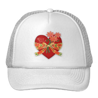 """Valentine """"Love you"""" Heart with Bow Trucker Hat"""