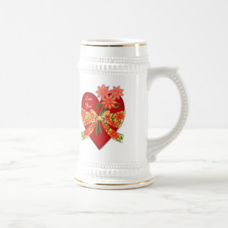 """Valentine """"Love you"""" Red Heart with Bow Beer Stein"""