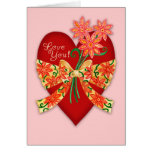 """Valentine """"Love you"""" Red Heart with bow Greeting Cards"""