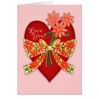 """Valentine """"Love you"""" Red Heart with bow Card"""