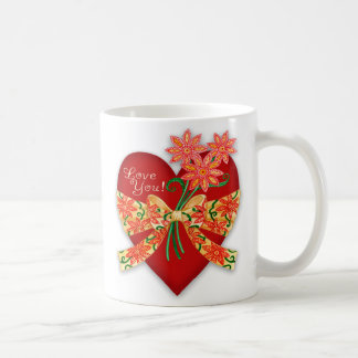 """Valentine """"Love you"""" Red Heart with Bow Coffee Mug"""