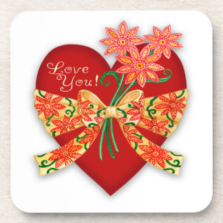 """Valentine """"Love you"""" Red Heart with Bow Drink Coaster"""