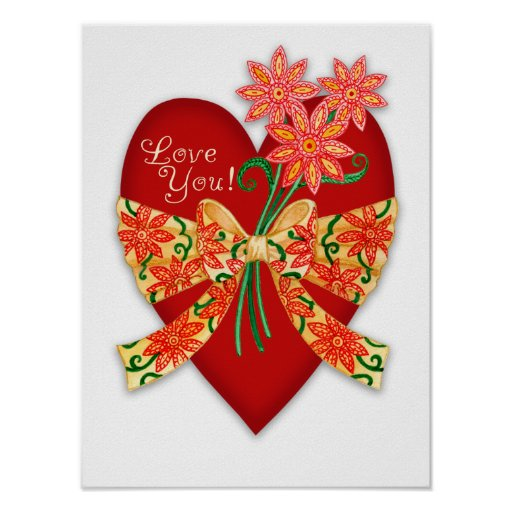 """Valentine """"Love you"""" Red Heart with Bow Print"""