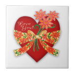 """Valentine """"Love you"""" Red Heart with Bow Ceramic Tile"""