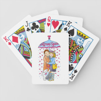 Valentine Love You Umbrella with Raining Hearts Bicycle Playing Cards