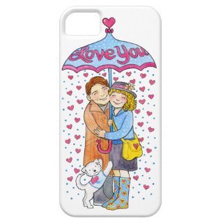 Valentine Love You Umbrella with Raining Hearts iPhone 5 Cases