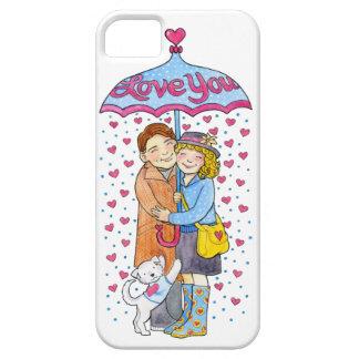 Valentine Love You Umbrella with Raining Hearts iPhone SE/5/5s Case