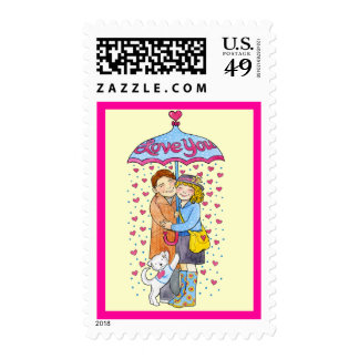 Valentine Love You Umbrella with Raining Hearts Postage Stamps