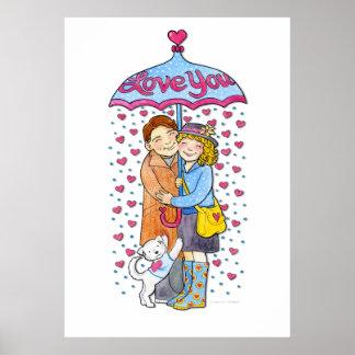 Valentine Love You Umbrella with Raining Hearts Poster