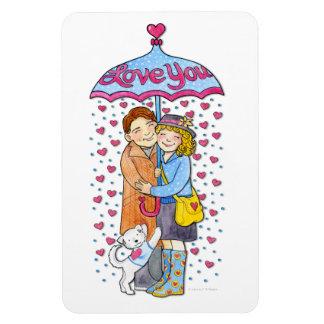Valentine Love You Umbrella with Raining Hearts Rectangular Photo Magnet