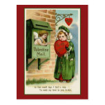 Valentine Mail Vintage Heart Art Post Card