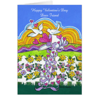 Valentine Mailbox with Birds and Hearts Greeting Card