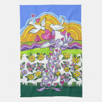 Valentine Mailbox with Birds and Hearts Kitchen Towel