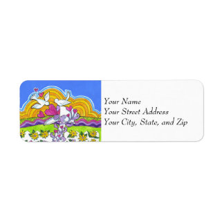 Valentine Mailbox with Birds and Hearts Custom Return Address Labels