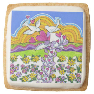 Valentine Mailbox with Birds and Hearts Square Premium Shortbread Cookie