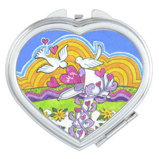 Valentine Mailbox with Birds and Hearts Compact Mirror