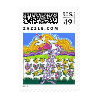 Valentine Mailbox with Birds and Hearts Postage Stamps