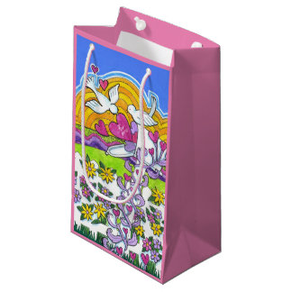 Valentine Mailbox with Birds and Hearts Small Gift Bag