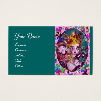 VALENTINE MASQUERADE MASKS ,CONFETTI,pink green Business Card