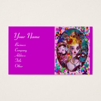 VALENTINE MASQUERADE MASKS ,CONFETTI,pink purple Business Card