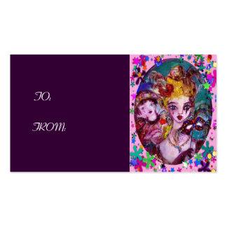 VALENTINE MASQUERADE MASKS ,CONFETTI,pink purple Business Card