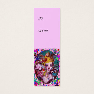 VALENTINE MASQUERADE MASKS ,CONFETTI,pink purple Mini Business Card