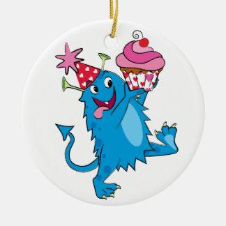 Valentine Monster with Cupcake Ceramic Ornament