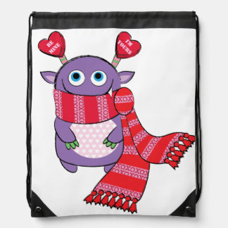 Valentine Monster with Scarf Drawstring Backpack