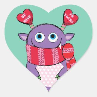 Valentine Monster with Scarf Heart Sticker