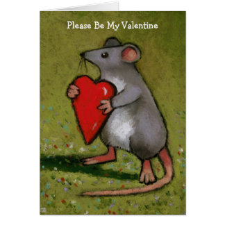 Valentine: Mouse Holding Heart: Oil Pastel Art Greeting Card
