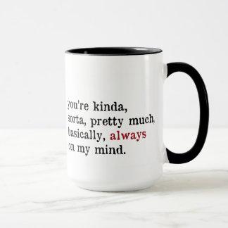 Valentine Mug.  Always On My Mind. Love mug. Ringer Mug