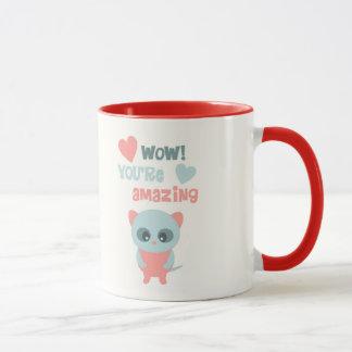Valentine Mug, Cat Heart Retro Cute Love Quote Mug