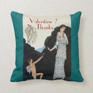 VALENTINE ? NO,THANKS /RETRO ANTI VALENTINE'S DAY PILLOW