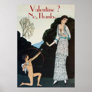 VALENTINE ? NO,THANKS /RETRO ANTI VALENTINE'S DAY POSTER